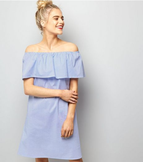 Cameo Rose Pale Blue Stripe Bardot Neck Dress  | New Look