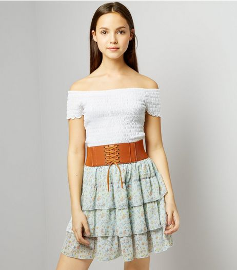 Teens Blue Floral Print Belted Tiered Skirt | New Look