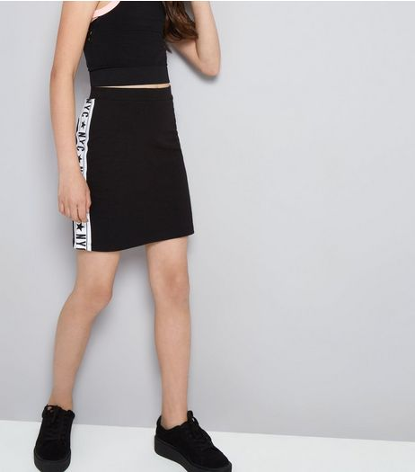 Teens Black NYC Side Stripe Tube Skirt | New Look