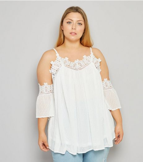Curves Cream Chiffon Crochet Trim Cold Shoulder Top | New Look