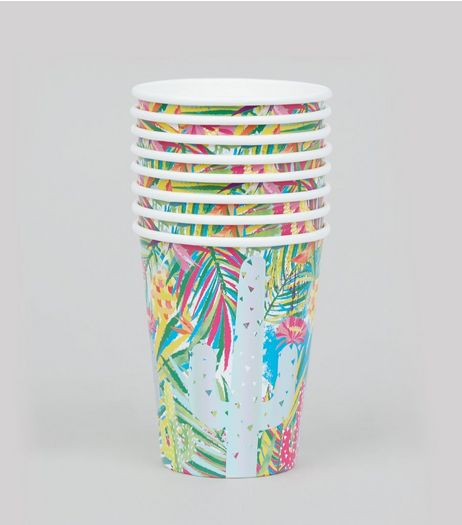 Green Tropical Print Paper Cups | New Look