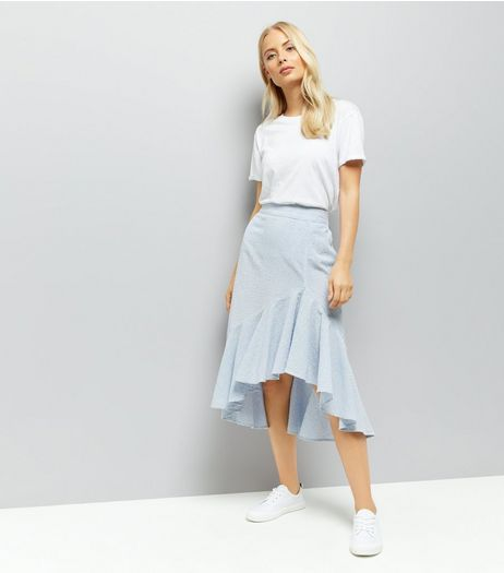 Blue Stripe Seersucker Frill Hem Midi Skirt | New Look