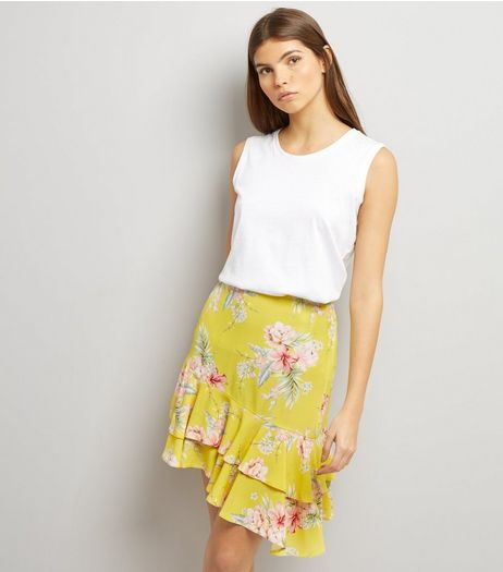 Yellow Floral Print Frill Asymmetric Hem Skirt | New Look