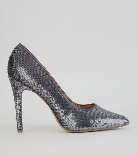 Pewter Sequin Pointed Heels  | New Look