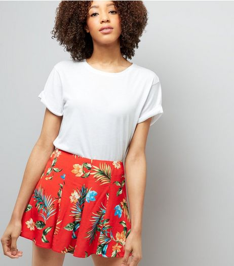 Red Tropical Print Shorts | New Look