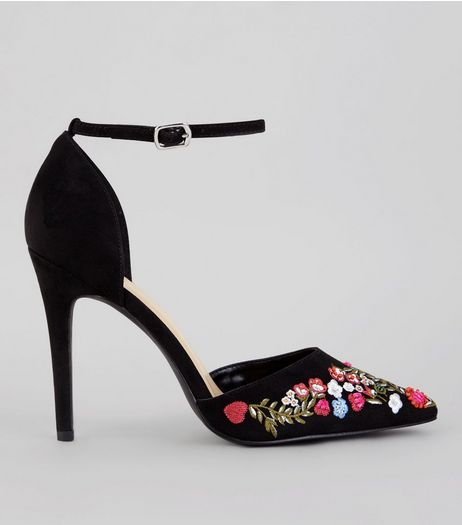 Black Embroidered Pointed Heels | New Look