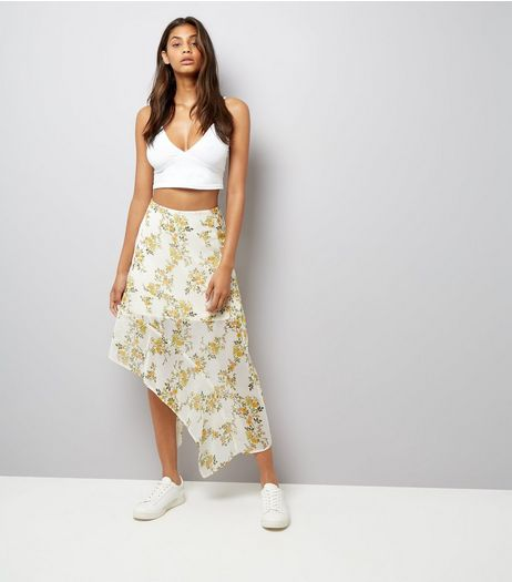 White Floral Print Asymmetric Midi Skirt | New Look