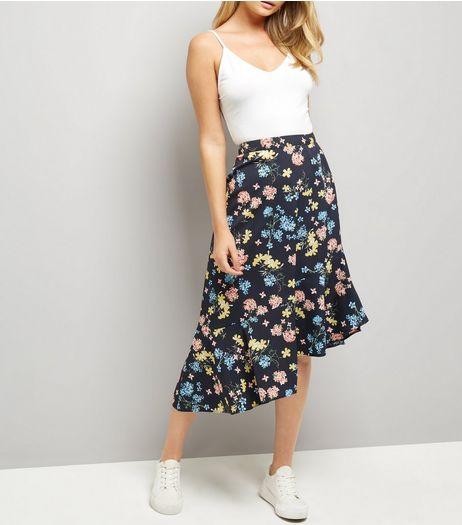 Blue Floral Print Hanky Hem Skirt  | New Look