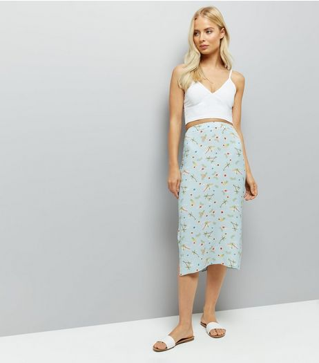 Blue Floral Print Split Side Midi Skirt  | New Look
