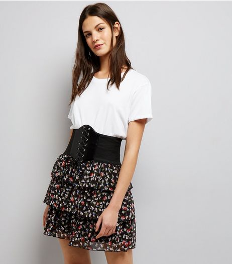 Black Floral Print Corset Belted Mini Skirt  | New Look