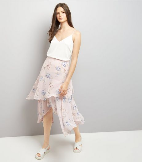 Pink Floral Print Hanky Hem Tiered Midi Skirt  | New Look