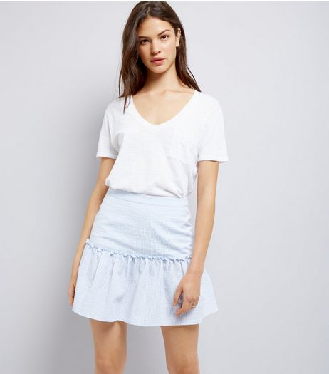 Blue Frill Trim Mini Skirt  | New Look