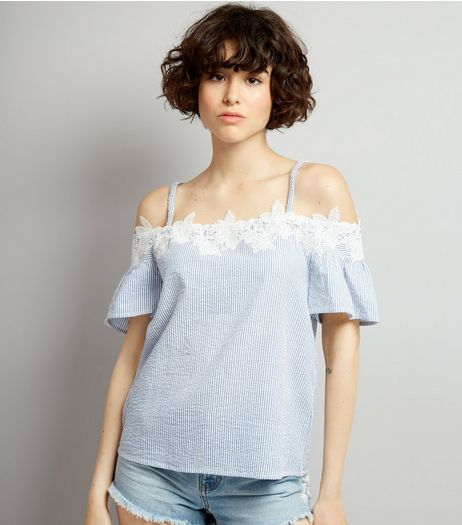 Blue Seersucker Stripe Lace Trim Cold Shoulder Top | New Look