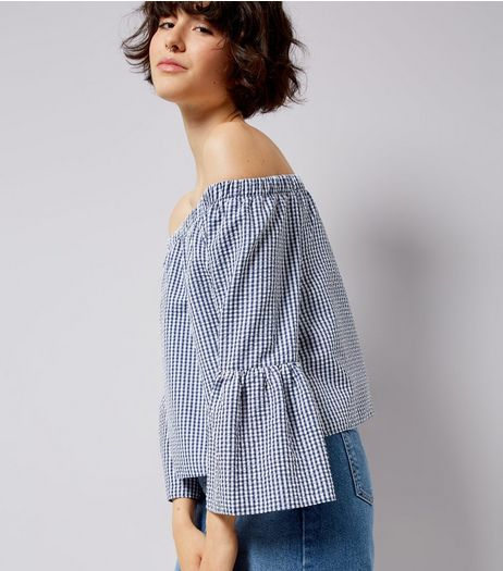 Blue Gingham Bell Sleeve Bardot Neck Top  | New Look