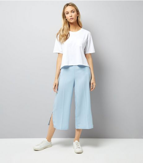 Pale Blue Split Side Cropped Trousers | New Look