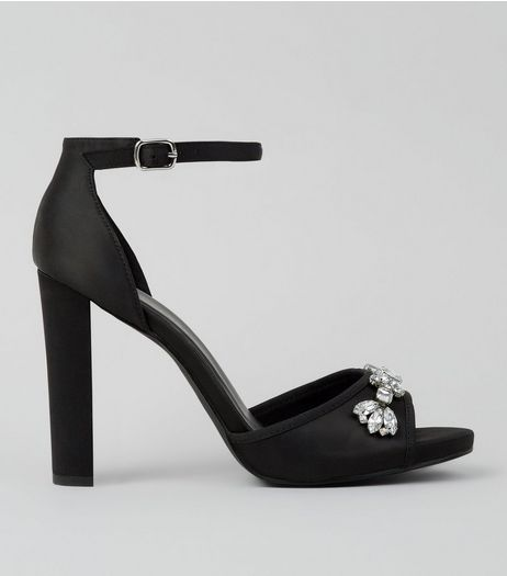 Wide Fit Black Crystal Embellished Satin Heeled Sandals | New Look