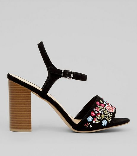 Wide Fit Black Suedette Floral Embroidered Block Heeled Sandals  | New Look