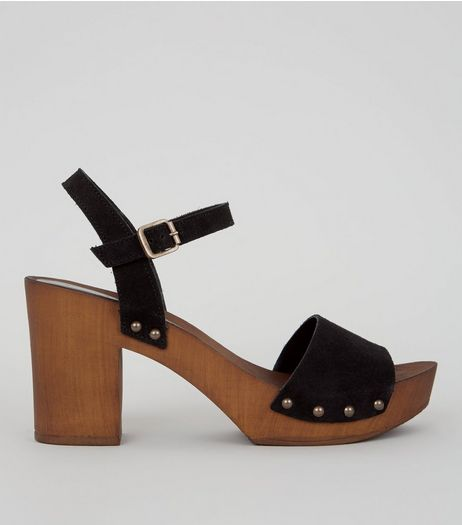 Black Suede Wooden Platform Block Heeled Clogs | New Look