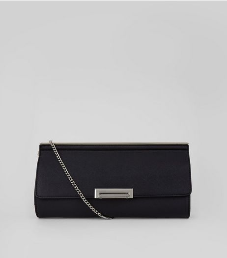 Black Metal Trim Clutch | New Look