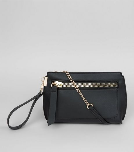 Black Zip Front Cross Body Bag  | New Look