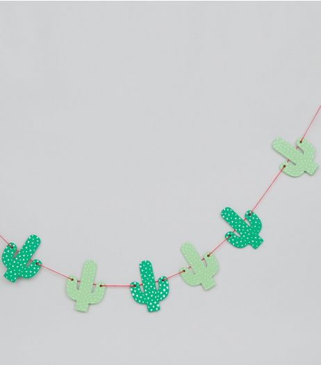 Green Wooden Cactus Bunting | New Look