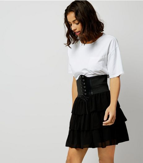Petite Black Tiered Corset Skirt | New Look