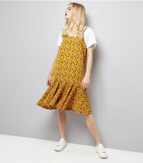 Cameo Rose Yellow Floral Print Frill Hem Midi Dress | New Look