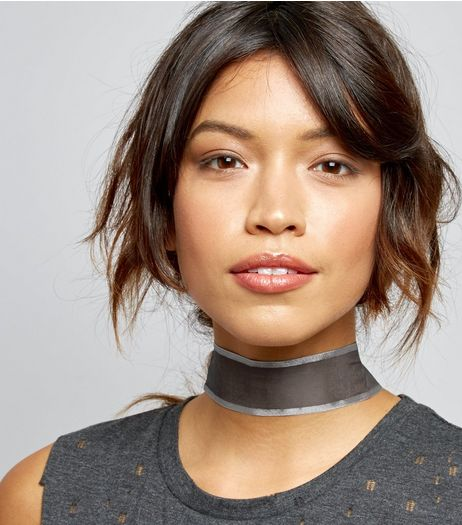 Wide Black Chiffon Metallic Trim Choker | New Look