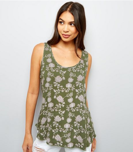 Apricot Olive Green Floral Print Bar Back Vest  | New Look