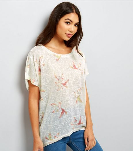Apricot White Bird Print Oversized Top  | New Look