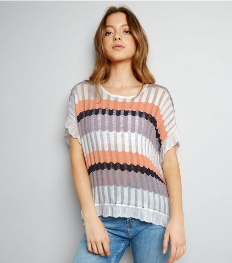 Apricot Cream Stripe Ribbed Oversized Top  | New Look