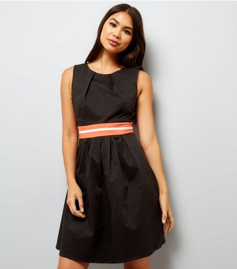 Apricot Black Satin Contrast Tape Waist Dress | New Look