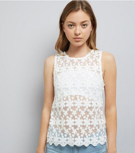 Cream Embroidered Daisy Lace Sleevless Top | New Look