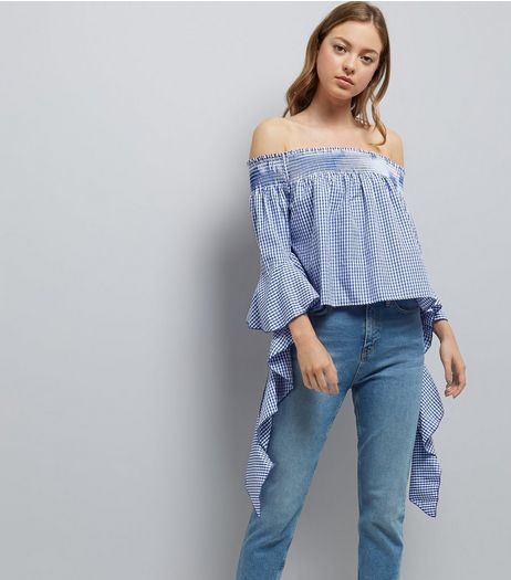 Blue Vanilla Blue Gingham Bardot Neck Top  | New Look