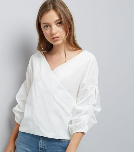 Blue Vanilla Cream Gathered Sleeve Wrap Front Top  | New Look