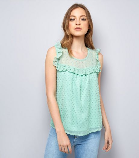 Blue Vanilla Mint Green Spot Mesh Top | New Look