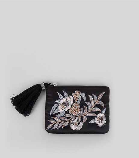 Black Floral Embellished Zip Top Purse | New Look