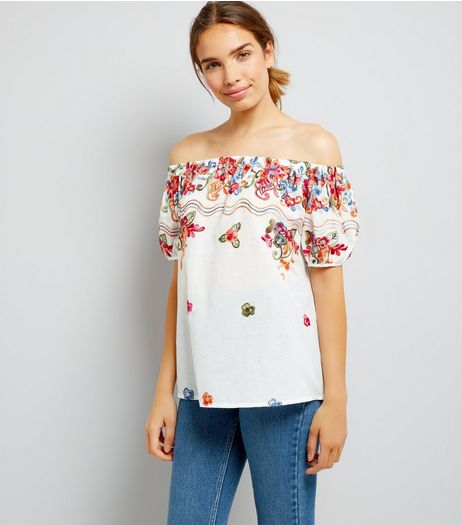 Blue Vanilla Cream Floral Print Bardot Neck Top | New Look