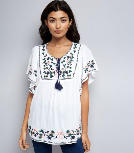 Blue Vanilla Cream Floral Embroidered Top  | New Look