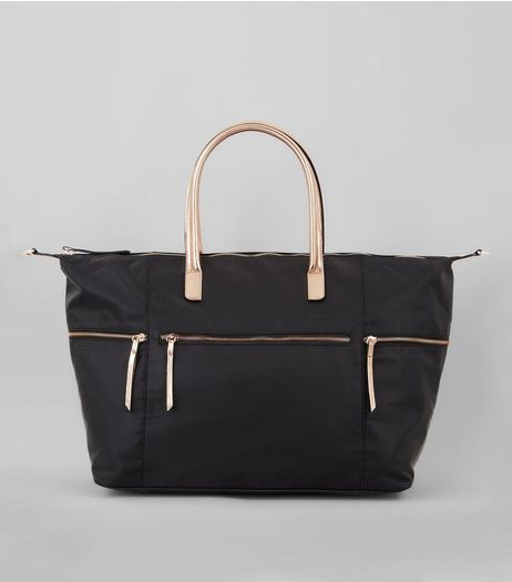 Black Luggage Tote Metallic Trim Bag  | New Look