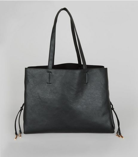 Black Lace Up Sides Tote Bag | New Look