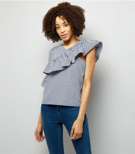 Pink Vanilla Navy Gingham Off the Shoulder Top  | New Look