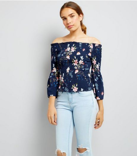 Pink Vanilla Navy Floral Print Bardot Neck Top | New Look