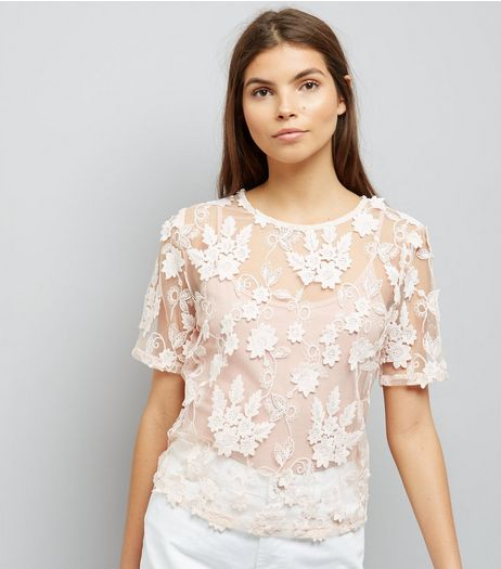 Pink 3D Leaf Floral Lace Top | New Look