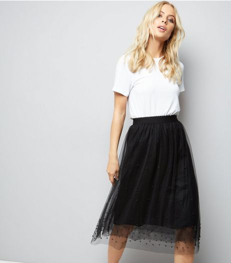 Cameo Rose Black Beaded Mesh Midi Skirt | New Look