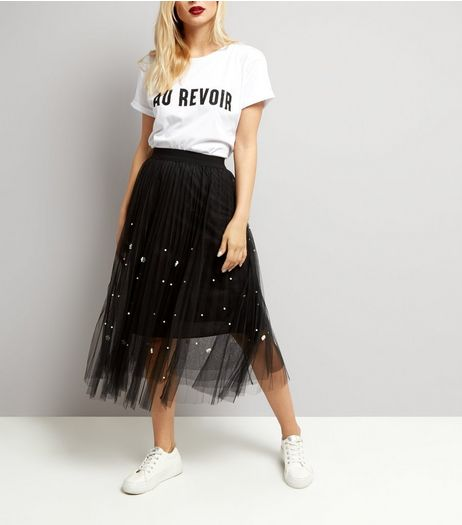Cameo Rose Black Studded Tulle Midi Skirt  | New Look