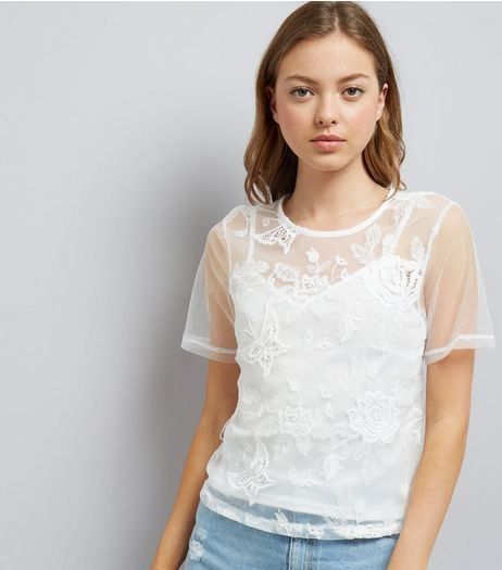 White Butterfly Embroidred Mesh Top With Cami | New Look