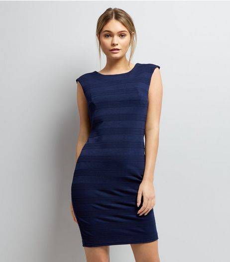 Mela Navy Blue Textured Stripe Bodycon Dress | New Look