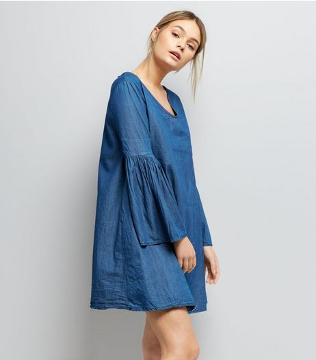 Mela Blue Denim Bell Sleeve Dress | New Look