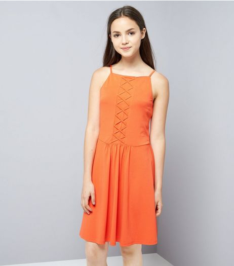 Teens Orange Lattice Front Skater Dress  | New Look